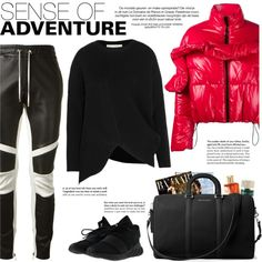 How to Style a Red Puffer Jacket with Black Leather Pants by outfitsfortravel on Polyvore featuring STELLA McCARTNEY, MSGM, adidas, MICHAEL Michael Kors, Balmain, Lancôme and Smith & Cult