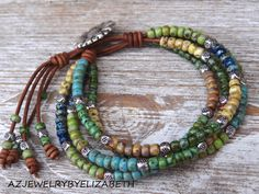 Beaded Leather Wrap/ Multi Color Seed Bead by AZJEWELRYBYELIZABETH