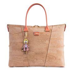 Handbag in Natural Cork and mint colour leather details. Two rolled handles and stripes in. Hands Together, Mint Color, Colour, Fashion Marketing, Leather Interior, Cork, Peach, Reusable Tote Bags, Stripes