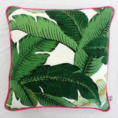 Green Palm Outdoor Square Cushion Pillow Cover by SquareFoxDesigns