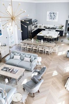 Astonishing Open Plan Kitchen And Living Room Design Ideas - Page 10 of 51 Open Plan Kitchen Dining Living, Living Room And Kitchen Design, Small Living Rooms, Living Room Designs, Kitchen Design Open, Open Concept Kitchen, Dining Sets, Small Bedrooms, Open Plan Living