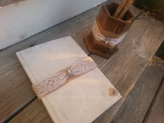 Personalized rustic wedding guest book and pen set by PineNsign, $60.00
