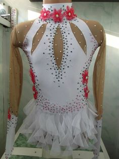 EUC White Pink rhythmic gymnastics leotard dance by TopLeotards