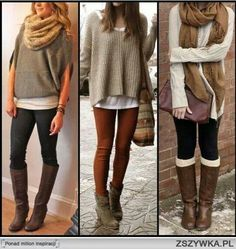 This is so retro (other than the scarfs), I wore this style boots, same oversized (sometimes men's) sweaters.~Layering w/ Oversized Sweaters and Leggings - Casual . Mode Outfits, Casual Outfits, Fashion Outfits, Womens Fashion, Fashion Ideas, Casual Wear, Night Outfits, Dress Casual, Fitness Fashion