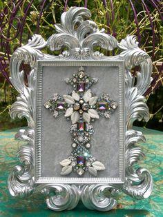 Vintage Rhinestone Jewelry Christmas Tree Framed Cross Art - w/ Mystic Topaz #CostumeJewelry