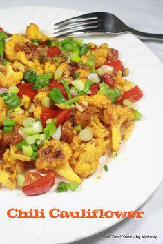 : Chili Cauliflower ( Baked Version) ~ Low Calorie Recipes food recipes under 300 calories No Calorie Foods, Low Calorie Recipes, Diet Recipes, Vegetarian Recipes, Cooking Recipes, Healthy Recipes, Chili Recipes, Healthy Dinners, Healthy Foods