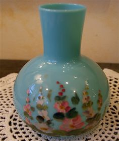 Antique Victorian Bristol Glass Painted Vase