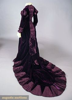 Victorian Dress - PURPLE VELVET TRAINED GOWN, LATE 1870s  May 2007 Vintage Clothing & Textile Auction  New Hope, PA