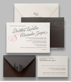 Luxury Wedding Invitations by Ceci New York - Our Muse - Modern Manhattan Wedding - Be inspired by Dory & Alex's sleek, modern wedding in iconic New York City - new york city, manhattan, ceci new york, invitations, letterpress, mandarin oriental, pink, modern, sleek, gray, slate gray