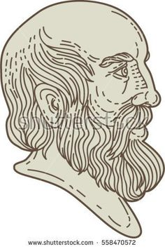 Mono line style illustration of the Greek philosopher Plato head viewed from the side set on isolated white background.  #Plato #monoline #illustration