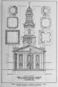 Plans and elevation of the First Congregational Church, Danbury