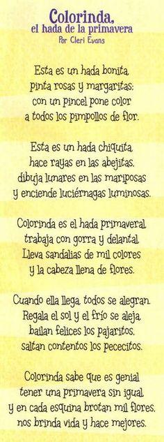 """DUENDES JUGUETONES"": COLORINDA EL HADA DE LA PRIMAVERA Spanish Teacher, Spanish Classroom, Teaching Spanish, Poetry For Kids, Yoga For Kids, Cherry Baby, Teachers College, Therapy Games, Language And Literature"