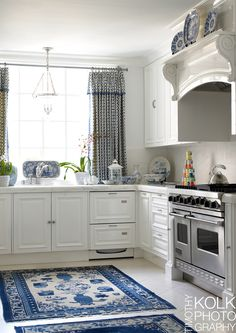 Blue and White Kitchen | via Timothy Kolk Photography