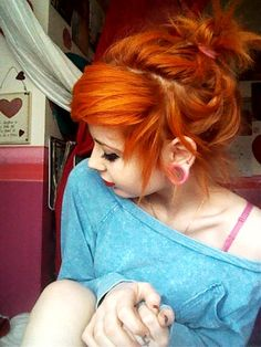 Image via bright orange hair image Image via I think I might make it a little darker myself, to make it peachier. It's so friggin awesome! Image via bright orange hair image Love Hair, Gorgeous Hair, Alternative Hair, Emo Hair, Red Hair Color, Hair Colors, Color Red, Colour, Dye My Hair
