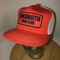 bade2d9d Details about Vintage Mesh KUBOTA Tractor Adjustable Snapback Cap Orange Hat  Trucker Farmer