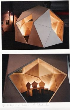 Gerard Caris experiment in pentagonism modular residential construction by adrian Folding Architecture, Residential Architecture, Art And Architecture, Architecture Geometric, Kiosk Design, Booth Design, Cool Forts, Residential Construction, Construction Design