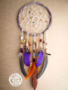 Unique Dream Catcher - Boho Birds - With Crochet Web, Lots of unique Feathers, Colorful Beads - Boho Home Decor, Nursery Mobile