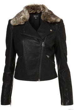 Fur Collar Quilted Biker Jacket - Topshop