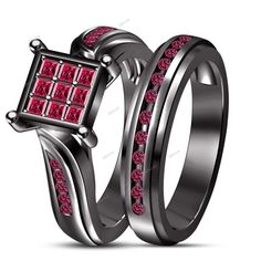 14k Black Gold Finish 1.35 CT 925 Silver Pink Princess Wedding Bridal Ring Set  #WeddingBridalRingSet