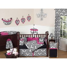 This designer girl crib bedding set uses Sweet Jojo Designs exclusive Cotton and Chenille fabrics. It has a gorgeous black/white damask print, rich solid black cotton and hot pink minky swirl chenille that will set your nursery up in high style.