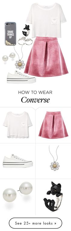 """Untitled #1031"" by twisted-magic on Polyvore featuring Boohoo, MANGO, Roberto Coin, Converse, Apples & Figs, Kate Spade and AK Anne Klein"
