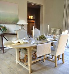 Bleached oak furniture - by In Tempo (Brigitte and Luc Leroi).  Image via belgianpearls.blogspot.be