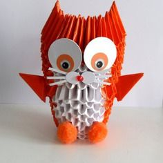 Veilleuse façon bougeoir, chat orange, origami 3d, papier