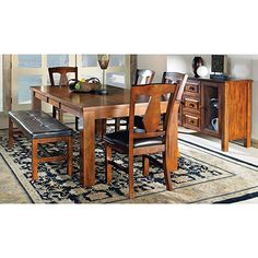 Greyson Living Lansing Dining Sets by Oak 7 Piece Dining Set With Bench, Kitchen Dining Sets, Dining Room Bar, Table And Chair Sets, Dining Table, Furniture Deals, Dining Room Furniture, Dining Furniture, Living Room Chairs