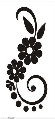 Vinilo Pixerstick Negro Silueta De La Rama Con Flores
