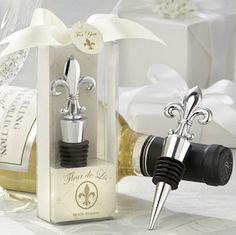 Fleur de Lis Chrome Bottle Stoppers from Wedding Favors Unlimited
