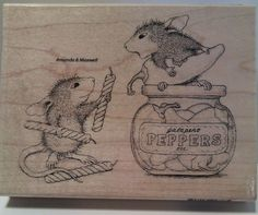 """New! """"Pepper Power""""  HOUSE MOUSE Wood Mounted Rubber Stamp by Stampendous  #Stampendous"""