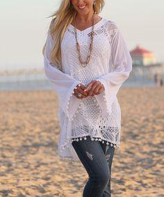 Ananda's Collection White Lace Bell-Sleeve Semi-Sheer Peasant Tunic - Women & Plus Plus Size Bikini Bottoms, Women's Plus Size Swimwear, Curvy Swimwear, Boho Hippie, Bell Sleeve Dress, Bell Sleeves, Plus Size Beach Outfits, Outfit Strand, Ruffle Fabric