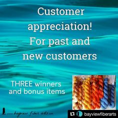 Update - contest ends tomorrow.  This giveaway is to reward my fabulous loyal wonderful customers. If you have purchased yarn from me at any time you are a customer! A repeat purchase is not necessary. You DO need to follow the steps below to enter.    For this customer giveaway you need to: 1Follow me on Instagram @bayviewfiberarts. 2Be a customer! Past customers and new customers if you have purchased yarn from me at any time you are a customer! 3SEND me a conversation on Etsy with your…