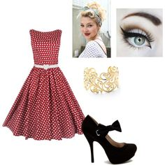 50's style outfit.. So cute. I would totally wear this.