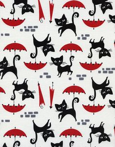 Le Chat Little Black Kitty Cat With a Red by AllegroFabrics