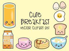 Premium Vector Clipart Kawaii Breakfast by LookLookPrettyPaper