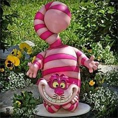 Alice in Wonderland Cheshire Cat Garden Statue in color ! We All Mad Here, Alice In Wonderland Garden, Lapin Art, Deco Disney, Cat Garden, Mad Hatter Tea, Mad Hatters, Cat Decor, Disney Home