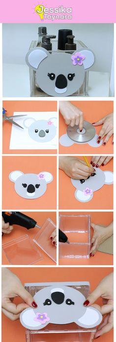 Faça você mesmo um lindo organizador usando CD's e capinhas de plástico, DIY, Do It Your Self, Kawaii, lixo ao luxo, Koala