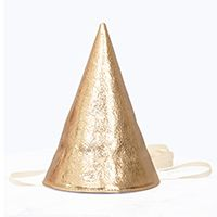 OTAAT Gold Leather Party Hat—This leather party hat can be used for years to come and will make everyday a celebration for the people who you appreciate the most.