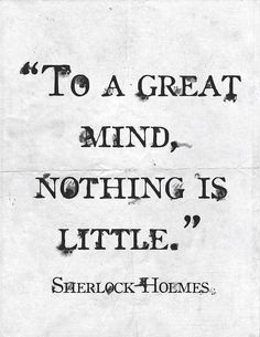 """...nothing is little."" Sherlock Holmes"