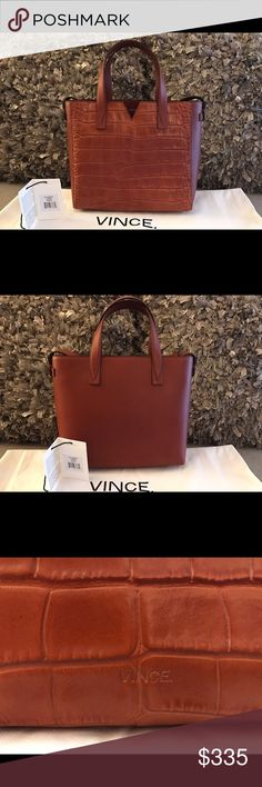 ⭐️SALE⭐️Vince Signature V Baby Croc-Embossed Tote Authentic Vince Signature V Baby Crocodile-Embossed Leather & Smooth Leather Tote. Gorgeous whiskey color. New & Amazing condition! Original tags and dust bag included. Vince Bags Totes