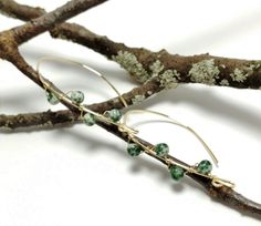 Tree Jasper Earrings, Green Jasper Earrings, Gold Wire Wrapped Stone Earrings, Nature Gifts, Gift for Nature Lovers, Stone Jewelry by JujusNature on Etsy