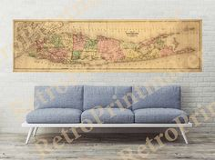Long Island vintage map New York NY 1873. Shows by RetroPrintmaker