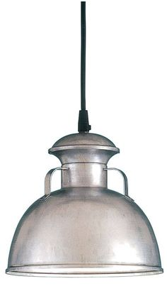 "9"" Bermuda Pendant, 96-Galvanized, Black Cord Hung"