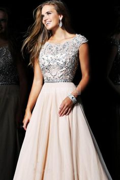 Natural Waist Chiffon Appliques Scoop Cap Sleeve Beaded Long A-line Prom Dress