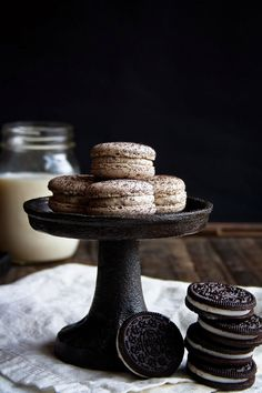 cookies and cream macarons; oreo dusted shells filled with an oreo and white chocolate ganache