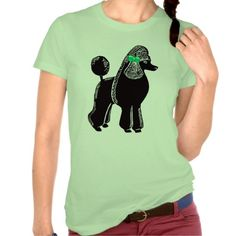 Standard Poodle with Green Bow Ladies Lime T-Shirt; Abigail Davidson Art; ArtisanAbigail at Zazzle