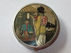 Rare Vintage Japanese Butterfly Wing Small Compact - Patent Applies For.