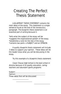 Creating A Thesis Statement