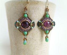 Purple Earrings Boho Earrings Beaded Earrings by DandasCollection